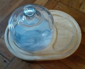 Beechwood and Marble Tile Cheese Cutting & Serving Board w/Glass Dome