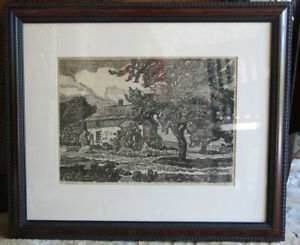 Birger Sandzen Vintage Lithograph Print quot; The Old Homesteadquot; Hand Signed RARE $1495.00