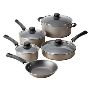 NEW Tramontina Kitchen Cookware Set 9 Piece Nonstick Pots Pans Cooking Champagne