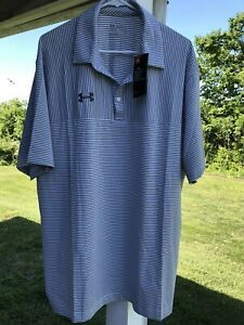 UNDER ARMOUR HEAT GEAR GOLF POLO SHIRT 2XL New with tags $59 white gray Striped $29.99