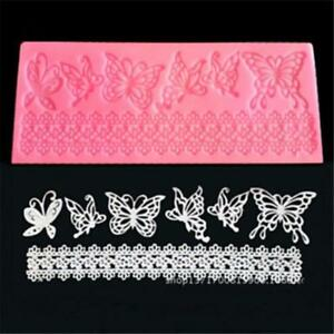Silicone Lace Butterfly Fondant Lace Mould Cake Decor Baking Sugarcraft Mat QK