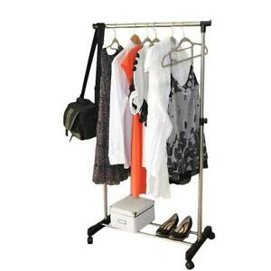 Single-bar Adjustable Clothes Hanger Rolling Garment Rack Stand Duty Rail US