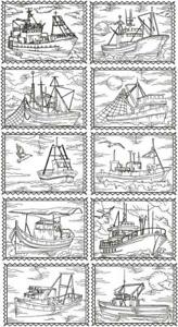 Nautical Fishing Boat EMBROIDERED 10 QUILT BLOCKS Vintage Style