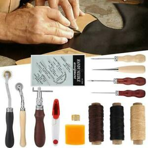 Sewing Leather Craft Tools Kit 14 pcs Awl Waxed Thimble Needle Scissor - S400