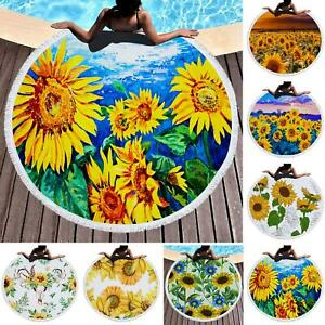 150cm Sunflower Beach Towel Circle Yoga Mat Large Round Bath Beach Blank Healthy