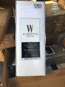 Wamsutta Cool Touch  KING FLAT SHEET Percale 350ct 100% Egyptian Cotton NEW Whit