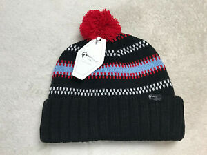 Greg Norman Collection Reebok The Shark Attack Beanie Blk Blue Red One Size NEW