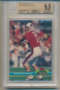 1991 Stadium Club Foottball Browning Nagle Rookie Card #326 BGS9.5 BGS $44.97