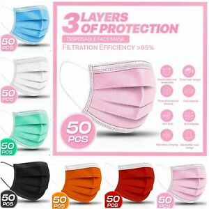 50 PC 3 PLY Layer Disposable Face Mask Dust Filter Safety Pink White Blue Black $13.99