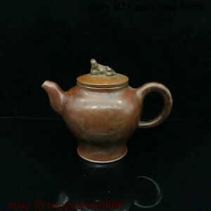 Collect Chinese Bronze People Drink tea Statue Wine Tea Pot Flagon Teapot Stoup $136.50