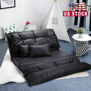 Folding Floor Chair Sofa Bed PU Leather Video Gaming Lounge w 2 Pillows Black
