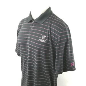Under Armour Mens Polo Golf Shirt Sz Large Black Striped Pink Stretchy A28 12 $12.69