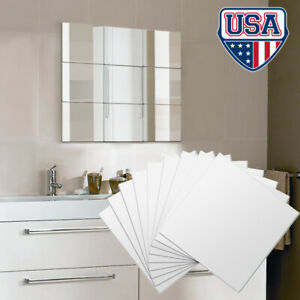 12Pcs 3D Square Wall Stickers Mirror Removable Acrylic Art DIY Decor Decal 15*15