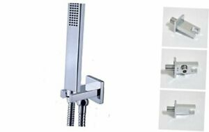 Ownace Square Solid Brass Chrome Hand Held Shower Head with Wall Connector and H