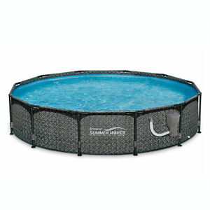 Summer Waves 12 x 33 Outdoor Round Frame Above Ground Swimming Pool with Pump