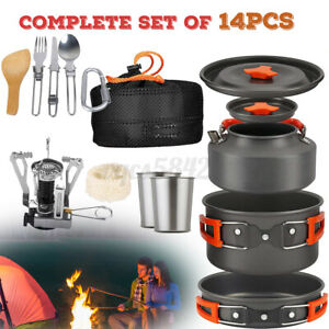 14pcs Set Portable Camping Cookware Mess Kit Backpacking Outdoors Cook Pot