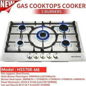 30quot; Stainless Steel 5 Burners Cooktop Built In NG LPG Gas Hob amp;amp; 1 year Warranty