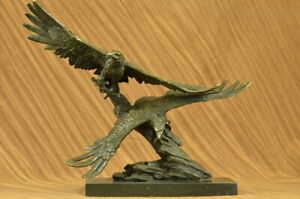 Large Bronze Of Two Eagles Fighting in Air Hot Cast Indoor Outdoor Sculpture NR $399.00