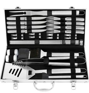 grilljoy 29PC BBQ Accessories Kit with Case - Stainless Steel Grill Set for M...
