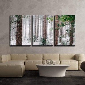 wall26 3 Piece Canvas Wall Art Pine Trees Covered with Snow Modern Home to