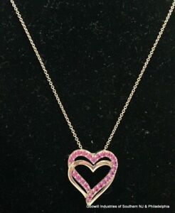 Sterling Topaz Double Open Heart Pendant Necklace