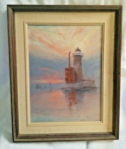 1926 wedding gift Lighthouse Oil On Board 8 1 2 x11quot; frame pastels EUC $45.00