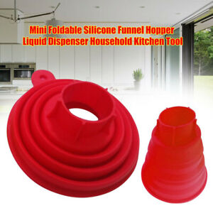 AB_ HB- Practical Silicone Gel Foldable Collapsible Style Funnel Hopper Kitchen