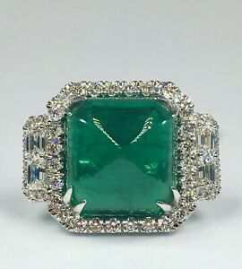 designer GIA 35.76 ct NATURAL DIAMOND & EMERALD halo ring SOLID 18K white GOLD