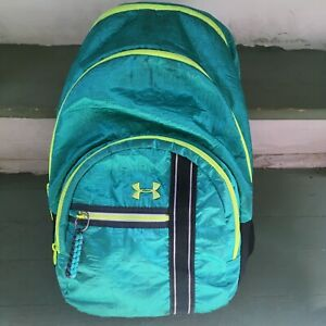 Under Armour Backpack School Gym Bag Teal W Neon Yellow Good Used Condition AAA $19.95
