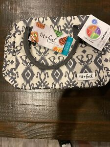 Fit & Fresh Bloomington Lunch Tote - Charcoal Ikat Insulated Lunch Bag, NEW