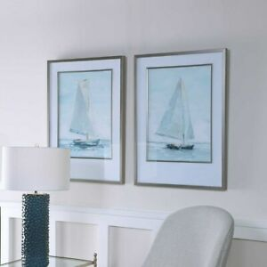 Seafaring Sail Boat Wall Art Prints Framed Art Set Of 2 Uttermost 33708