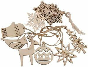 Wooden Christmas Ornaments Xmas Tree Hanging Tags Pendant Crafts Decor