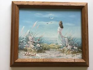 FRAMED Oil painting of a girl on a beach seascape signed by Laura Keswick $48.88