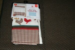 3 Pc Rooster Curtain Set Country Rod Pocket Tier and Valance Houndstooth Border