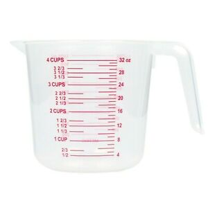 4 Cup Measuring Dry Liquid Plastic Cup Kitchen With Sturdy Handle FREE SHIPPING