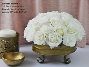 Silk floral arrangement Real Touch rose roses gold white offwhite metal va $139.90