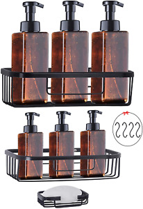 Bsicpro Adhesive Shower Caddy Bathroom 3 Tier Organizer Wall Mounted No Drilling