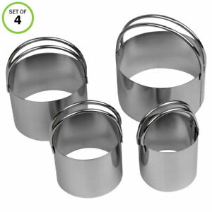 Evelots Cookie Cutter Biscuit Stainless Steel Easy to Use Handles 4 Sizes Set 4