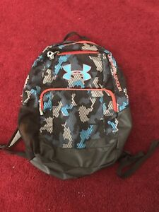 Used Under Armour Backpack Gray Black Blue Orange Camo Water Repl Used $29.99