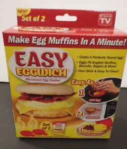 NEW ~ EASY EGG WICH ~ MICROWAVE EGG COOKER ~ SET OF 2  ~ COOK IN JUST 1 MINUTE