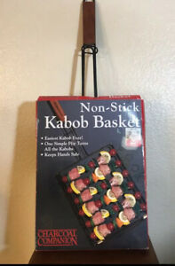 Nonstick Kabob Basket, Barbecue Grilling Accessories, holds 6 Skewers, BBQ Grill