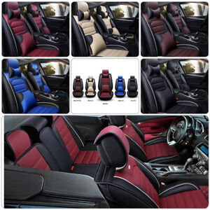 Universal Car Seat Covers PU Leather Auto Interior Protector Cushion Frontamp;Rear