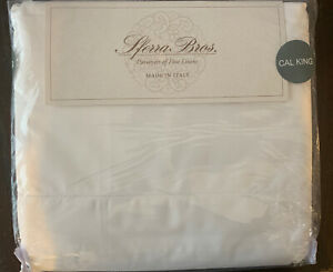Sferra CAL KING Italian Percale 100% Long Staple Cotton Sheet Set 200 TC White