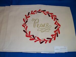 Threshold Target Christmas holiday Placemats Peace set of 8 red wreath fabric