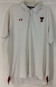 Under Armour Loose Heat Gear Short Sleeve White Golf Polo Men's XL Red Raiders $10.25
