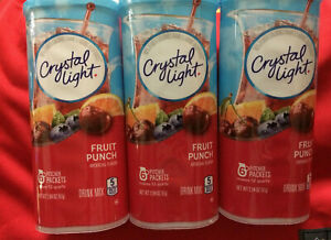 3Lot Fruit Punch Crystal Light Drink Mix Picther Packets 3 Containers ONlY