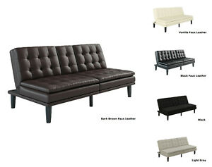 FOAM SOFA BED COUCH Convertible Foldable Futon Leather Pillow Top w Cup Holder
