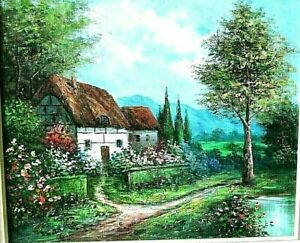 1980s Vintage oil painting HOUSE IN THE FOREST