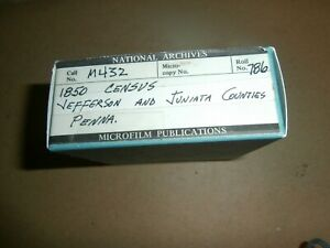 National Archives Microfilm 1850 Census Jefferson & Juniata PA Counties