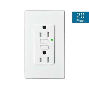 20 PK 15A GFCI Outlet Receptacle with Wall Plate LED Indicator ETL Listed White